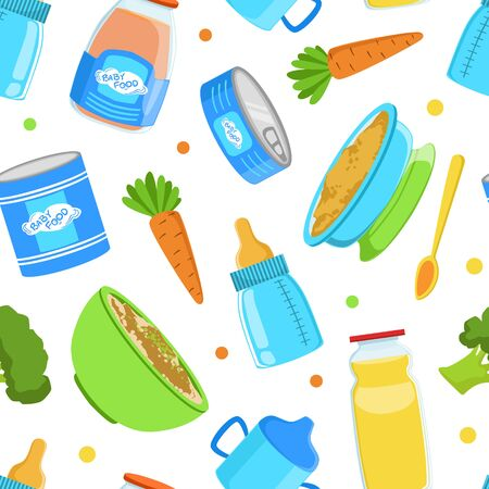 Baby Food Seamless Pattern, Healthy First Meal for Toddlers, Background Design Cartoon Vector Illustration