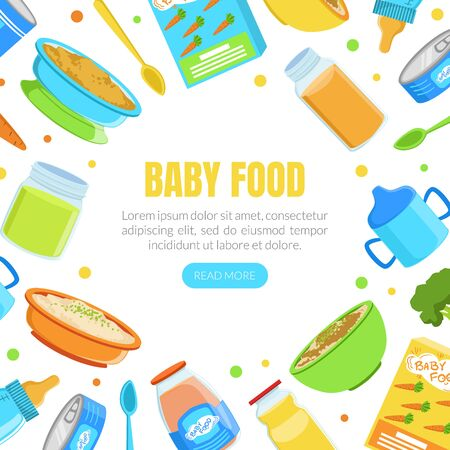 Baby Food Banner Template, Organic Healthy Meal for Toddlers Frame of Round Shape with Space for Text Vector Illustration Vectores