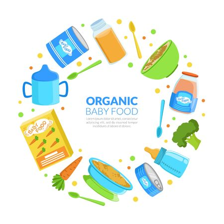Organic Baby Food Banner Template, Healthy First Meal for Toddlers Frame of Round Shape with Space for Text Vector Illustration
