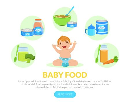 Baby Food Landing Page Template, Healthy First Meal for Toddlers, Organic Kids Menu, Infant Nutrition Vector Illustration Vectores