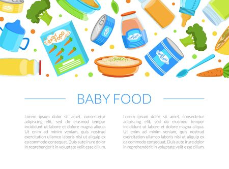 Baby Food Banner Template, Healthy First Meal for Toddlers with Space for Text, Kids Menu Vector Illustration