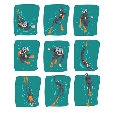 Professional Underwater Scuba Divers Set, Diver in Wetsuit, Snorkel, Mask and Flippers Swimming in the Sea, Extreme Water Sport Cartoon Style Vector Illustration