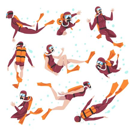 Set of Divers in Wetsuit, Mask and Flippers Diving in the Sea, Summer Water Sport, Extreme Hobby Cartoon Style Vector Illustration Vektorové ilustrace