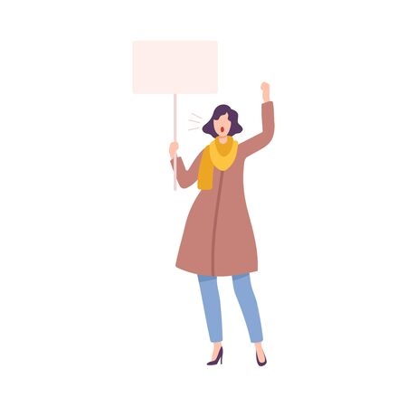 Beautiful Woman with Blank Signboard Claiming Her Demands, Struggle for Freedom, Independence, Equality, Female Power and Rights Flat Style Vector Illustration