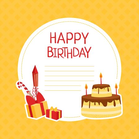 Happy Birthday Banner Template with Space for Text and Symbols of Holiday, Poster, Invitation Card Vector Illustration