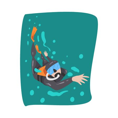 Professional Male Diver in Wetsuit, Snorkel, Mask and Flippers Diving in the Sea, Extreme Water Sport Cartoon Style Vector Illustration