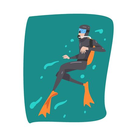 Male Diver in Wetsuit, Snorkel, Mask and Flippers Diving in the Sea, Extreme Water Sport Cartoon Style Vector Illustration 向量圖像