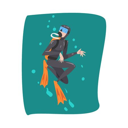 Professional Underwater Scuba Diver, Male Diver in Wetsuit, Snorkel, Mask and Flippers Swimming in the Sea, Extreme Water Sport Cartoon Style Vector Illustration 向量圖像