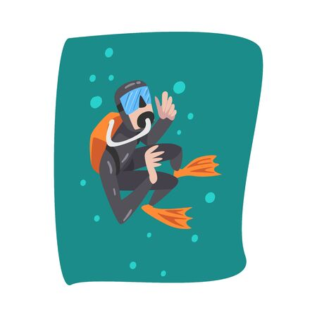 Professional Underwater Scuba Diver in Black Wetsuit, Mask, Flippers and Equipment for Breathing Swimming in the Sea, Extreme Water Sport Cartoon Style Vector Illustration
