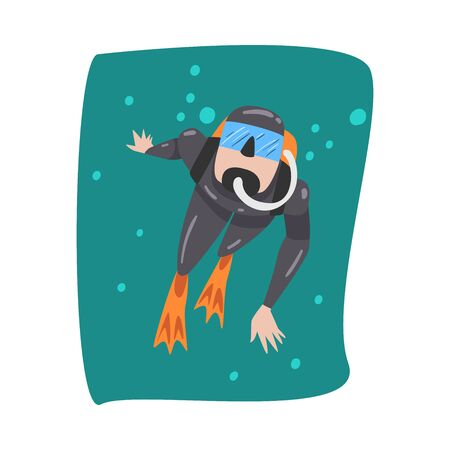 Underwater Scuba Diver in Black Wetsuit, Mask, Flippers and Breathing Equipment Swimming in the Sea, Extreme Water Sport Cartoon Style Vector Illustration