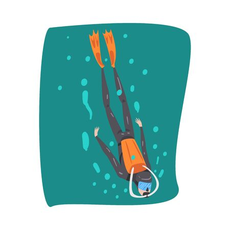 Professional Diver in Wetsuit, Mask, Flippers and Breathing Equipment Swimming Underwater, Extreme Water Sport Cartoon Style Vector Illustration 向量圖像