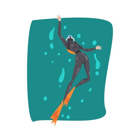 Male Diver in Wetsuit, Snorkel, Mask and Flippers Diving in the Sea, Summer Water Sport Cartoon Style Vector Illustration