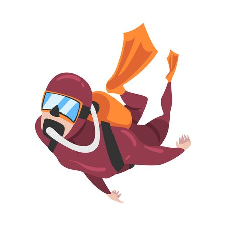 Professional Diver in Wetsuit, Mask, Flippers and Breathing Equipment Swimming Underwater, Water Sport, Extreme Hobby Cartoon Style Vector Illustration 向量圖像
