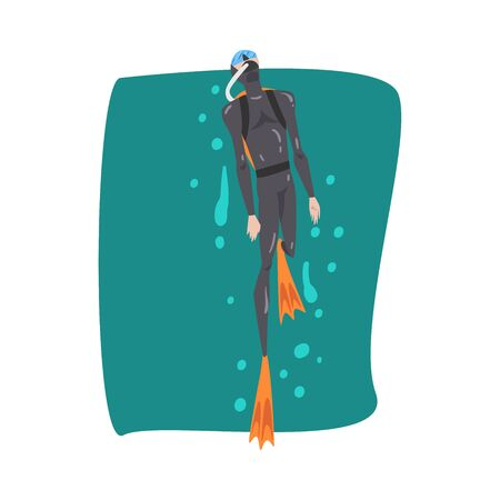 Male Diver in Black Wetsuit, Snorkel, Mask and Flippers Snorkeling in the Sea, Extreme Water Sport Cartoon Style Vector Illustration 向量圖像