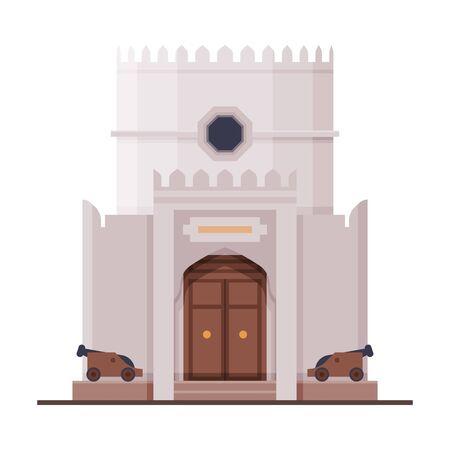 Beit Al Zubair Muscat City Architecture, Oman Country Famous Landmark, Medieval Historical Building Flat Vector Illustration Çizim