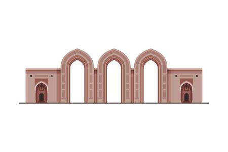 Medieval Historical Building, Muscat City Architecture, Oman Country Famous Landmark Flat Vector Illustration Çizim