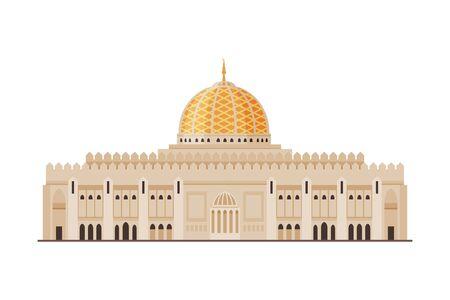 Muscat City Historical Building, Oman Country Famous Landmark Flat Vector Illustration
