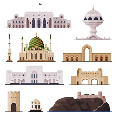Travel to Oman, Muscat City Historical Building Collection, Famous Landmarks Flat Vector Illustration Isolated on White Background