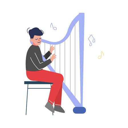 Teen Boy Playing Harp Musical Instrument, Young Talented Harper Musician Character Vector Illustration on White Background. Illustration