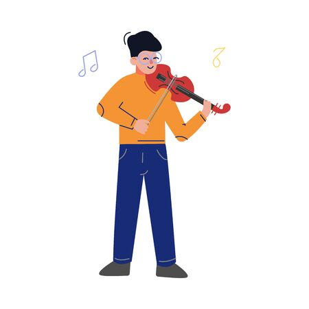 Teen Boy Playing Violin Musical Instrument, Young Talented Violinist Musician Character Vector Illustration on White Background Ilustrace