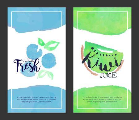 Fresh Juice, Banner Template Set, Sweet Fruits Drink Watercolor Vertical Hand Drawn Vector Illustration