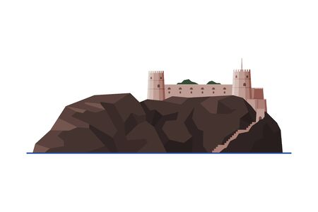 Mirani Fort, Muscat City Architecture, Oman Country Famous Landmark, Medieval Historical Building Flat Vector Illustration