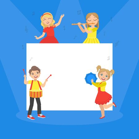 Cute Children Playing Musical Instruments on the Background of White Blank Banner Vector Illustration