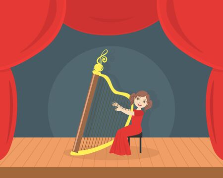 Cute Girl in Red Dress Playing Harp on Stage, Talented Kid Performing at Concert or Music Festival Vector Illustration