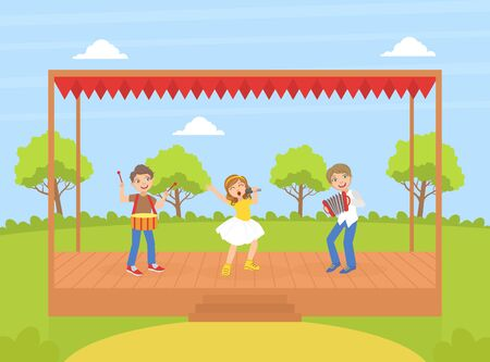 Cute Girl and Boys Playing Musical Instruments and Singing on Stage Outdoors, Talented Young Musicians Performing at Concert or Music Festival Vector Illustration