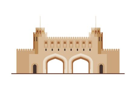 The National Museum, Muscat City Architecture, Travel to Oman Famous Landmark, Historical Building Flat Vector Illustration