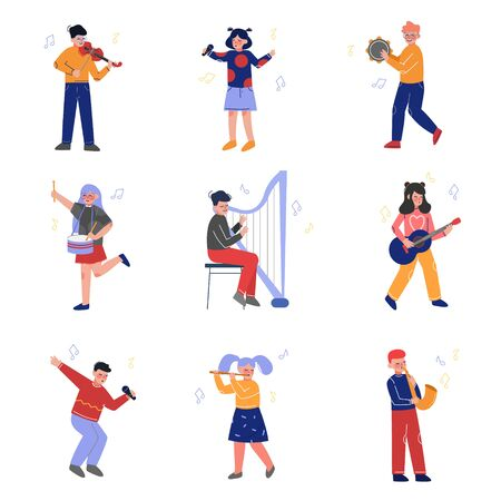 Teen Boys and Girls Playing Different Musical Instruments and Singing, Talented Musicians Characters Playing Guitar, Violin, Drum, Flute, Saxophone, Harp, Guitar, Tambourine Vector Illustration