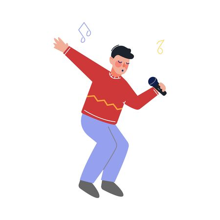 Teen Boy Singing with Microphone, Talented Teenager Character Performing in Concert, Singing Karaoke Vector Illustration on White Background