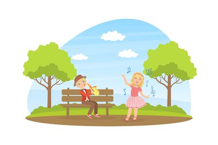 Cute Girl and Boy Playing Saxophone and Singing in the Park, Talented Young Musicians Performing Outdoors Vector Illustration