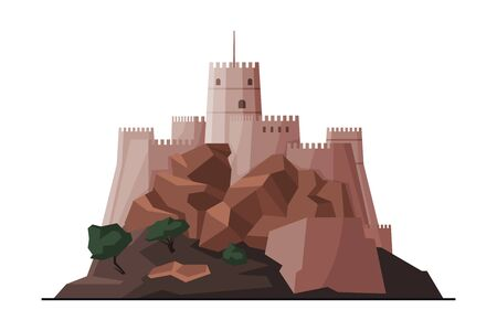 Mutrah Fort, Muscat City Architecture, Oman Country Famous Landmark, Medieval Historical Building Flat Vector Illustration
