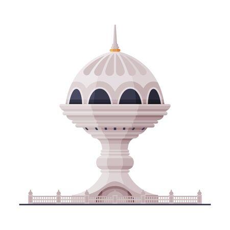 Watchtower Muscat City Architecture, Travel to Oman Famous Landmark Flat Vector Illustration Çizim