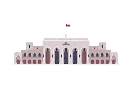 Muscat City Architecture, Travel to Oman, Famous Landmark Flat Vector Illustration