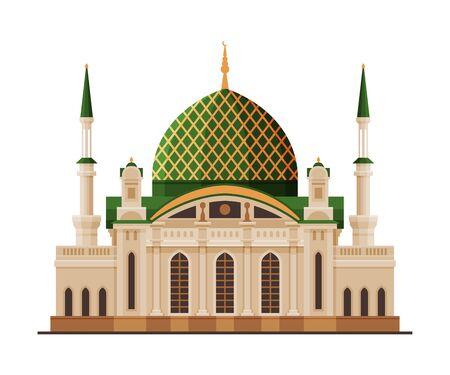 Mosquée du Sultan Qaboos, architecture de la ville de Muscat, voyage à Oman célèbre monument historique, illustration vectorielle plane du bâtiment