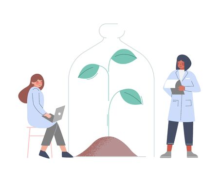 Scientists in Lab, Bioengineers in White Coat Doing Professional Science Researchers Flat Style Vector Illustration