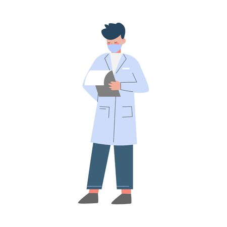 Scientist or Doctor Character, Man in White Coat and Medical Face Mask Doing Professional Researchers Flat Style Vector Illustration