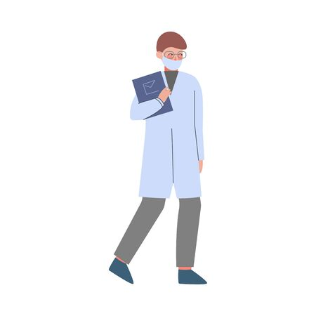 Scientist or Doctor Character, Man in White Coat and Medical Face Mask Walking with Clipboard Flat Style Vector Illustration