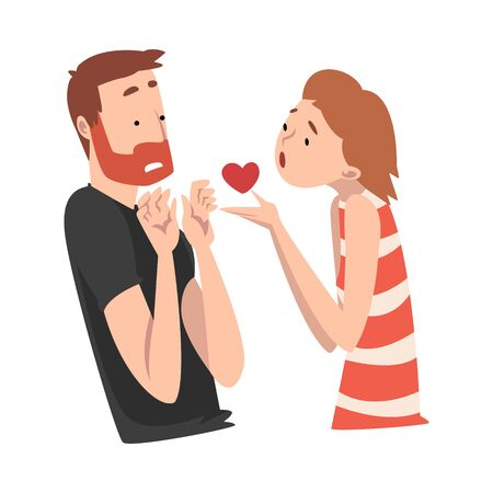 Girl offers her heart to a bearded guy. Undivided love. Vector illustration.