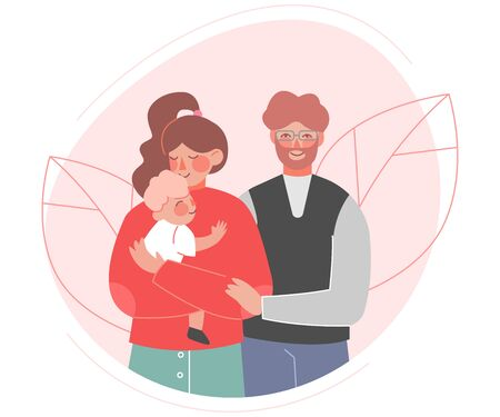 Happy Family, Father, Mother and Their Baby Hugging and Smiling Together Flat Style Vector Illustration Vettoriali