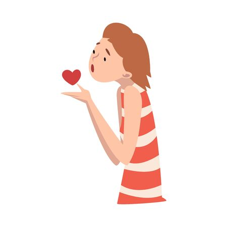 Young girl holds a heart in her hands. Vector illustration.