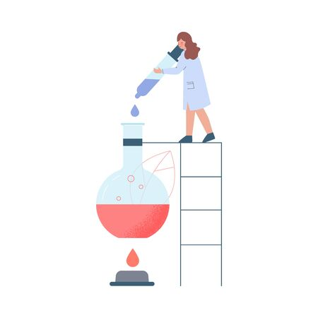 Scientist in Lab, Tiny Woman in White Coat Doing Professional Chemical Researchers with Huge Laboratory Equipment Flat Style Vector Illustration