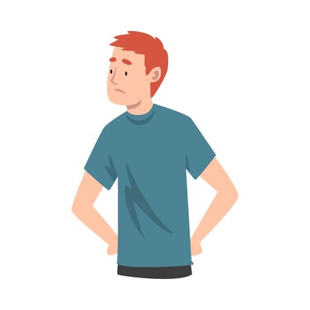 Young Man Standing With His Hands on Hips Feeling Loneliness Vector Illustration Çizim