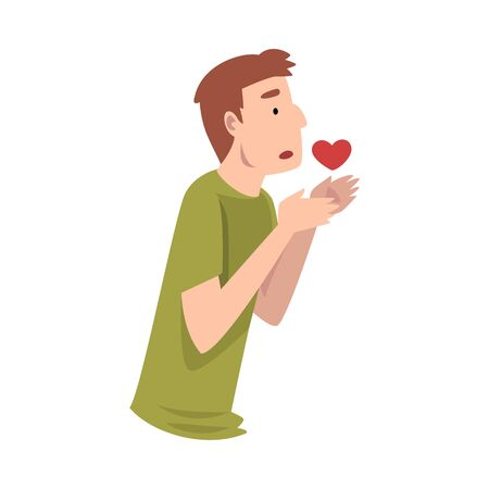 Young Man Standing Sadly With Heart Vector Illustration Ilustrace