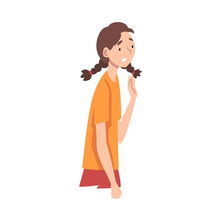 Young Woman Standing Not Knowing What to Do Vector Illustration
