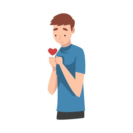 Young Man Standing Sadly With Heart Vector Illustration Çizim