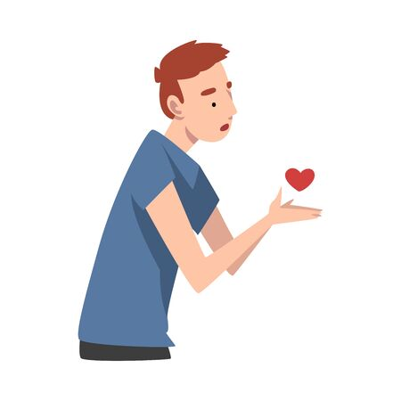 Young man offers his heart. Vector illustration.