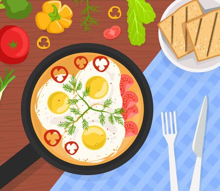 Healthy Breakfast, Top View of Delicious Scrambled Eggs in Frying Pan with Vegetables and Toast Vector Illustration 向量圖像